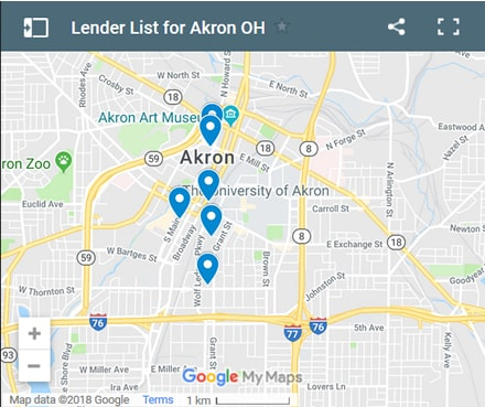 Akron Bad Credit Lenders Map - Initial Static Image