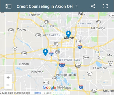 Akron Credit Counsellors Map - Initial Static Image