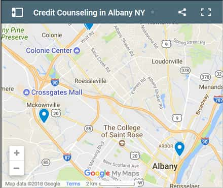 Albany Credit Counsellors Map - Initial Static Image