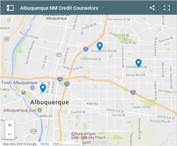 Albuquerque Credit Counsellors Map - Initial Static Image