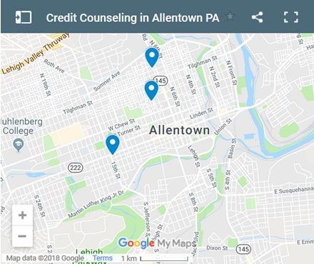 Allentown Credit Counsellors Map - Initial Static Image