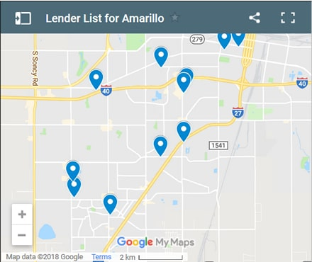 Amarillo Bad Credit Lenders Map - Initial Static Image