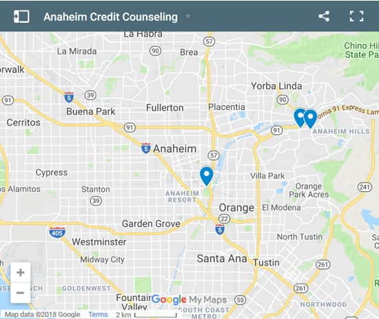 Anaheim Credit Counsellors Map - Initial Static Image