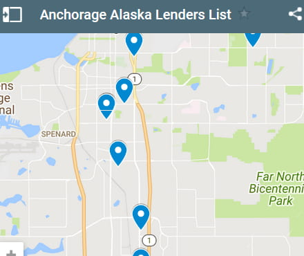 Anchorage Bad Credit Lenders Map - Initial Static Image