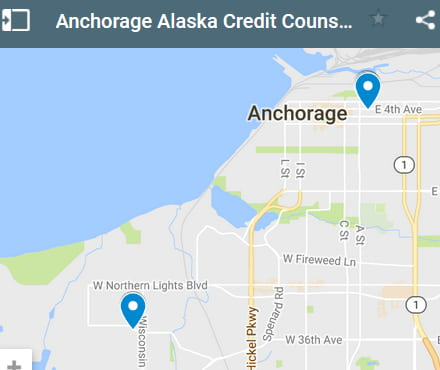 Anchorage Credit Counsellors Map - Initial Static Image
