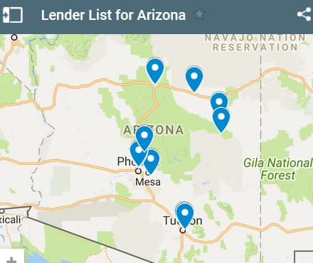 Arizona Bad Credit Lenders Map - Initial Static Image