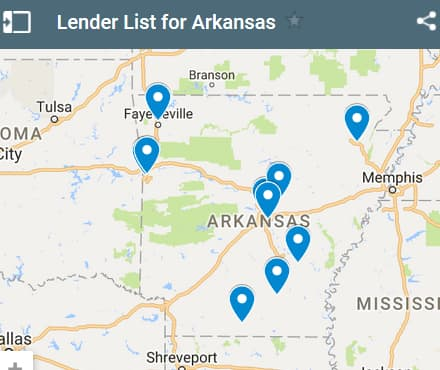 Arkansas Bad Credit Lenders Map - Initial Static Image