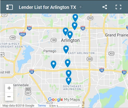 Arlington Bad Credit Lenders Map - Initial Static Image