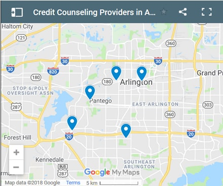 Arlington Credit Counsellors Map - Initial Static Image