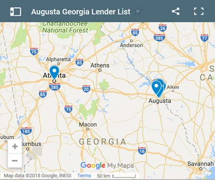 Augusta Bad Credit Lenders Map - Initial Static Image