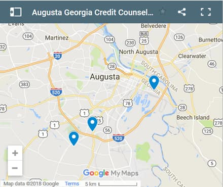 Augusta Credit Counsellors Map - Initial Static Image