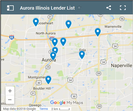 Aurora Bad Credit Lenders Map - Initial Static Image