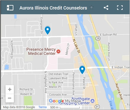 Aurora Credit Counsellors Map - Initial Static Image