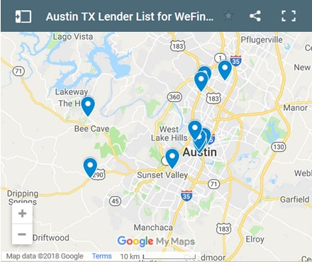 Austin Bad Credit Lenders Map - Initial Static Image