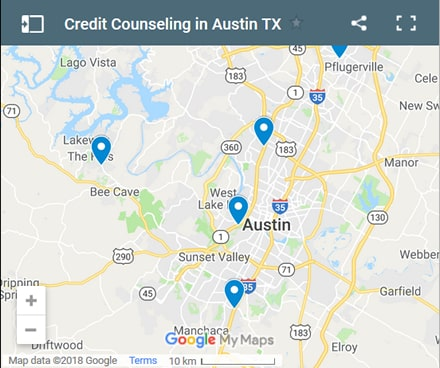 Austin Credit Counsellors Map - Initial Static Image