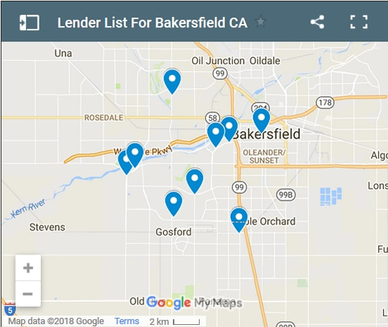 Bakersfield Bad Credit Lenders Map - Initial Static Image