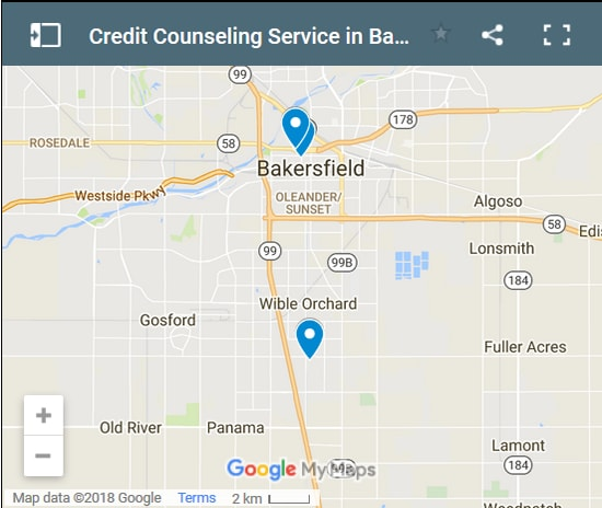 Bakersfield Credit Counsellors Map - Initial Static Image