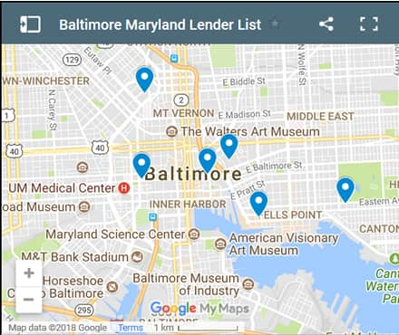 Baltimore Bad Credit Lenders Map - Initial Static Image
