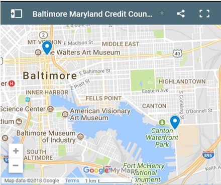 Baltimore Credit Counsellors Map - Initial Static Image