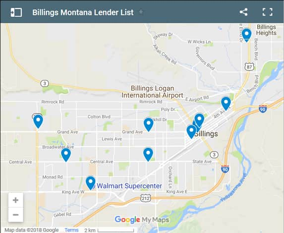 Billings Bad Credit Lenders Map - Initial Static Image
