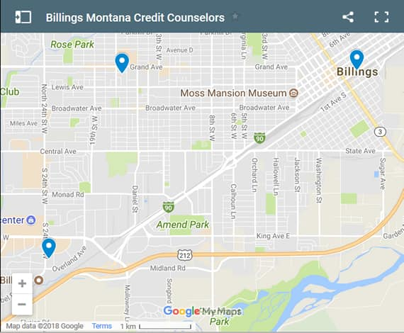 Billings Credit Counsellors Map - Initial Static Image