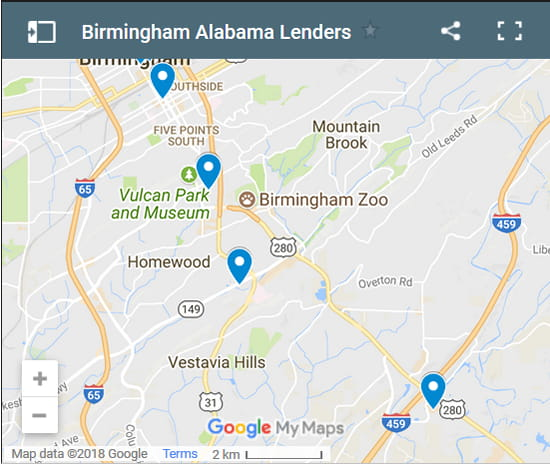 Birmingham Bad Credit Lenders Map - Initial Static Image