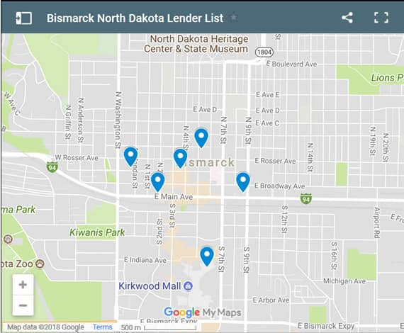 Bismarck Bad Credit Lenders Map - Initial Static Image