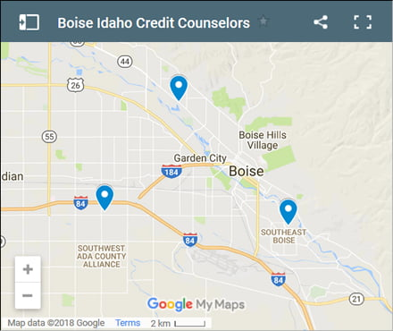 Boise Credit Counsellors Map - Initial Static Image