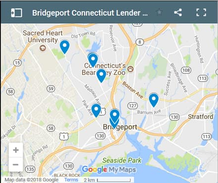 Bridgeport Bad Credit Lenders Map - Initial Static Image