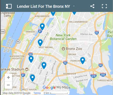 Bronx Bad Credit Lenders Map - Initial Static Image