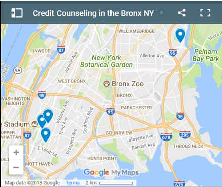Bronx Credit Counsellors Map - Initial Static Image