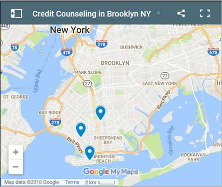 Brooklyn Credit Counsellors Map - Initial Static Image