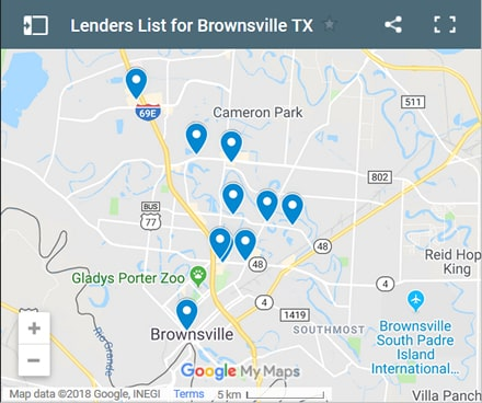Brownsville Bad Credit Lenders Map - Initial Static Image