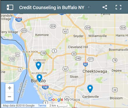 Buffalo Credit Counsellors Map - Initial Static Image