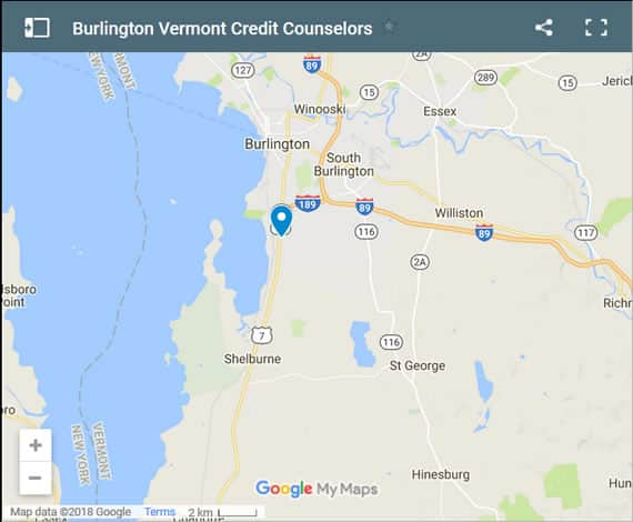 Burlington Credit Counsellors Map - Initial Static Image