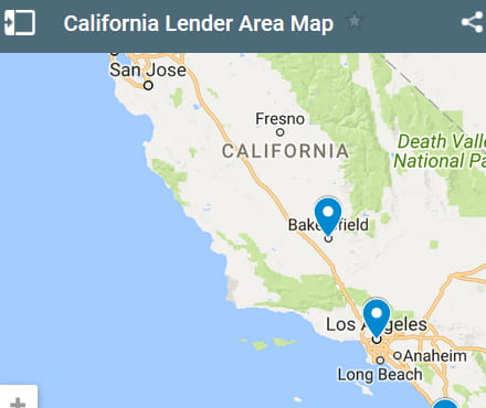 California Bad Credit Lenders Map - Initial Static Image