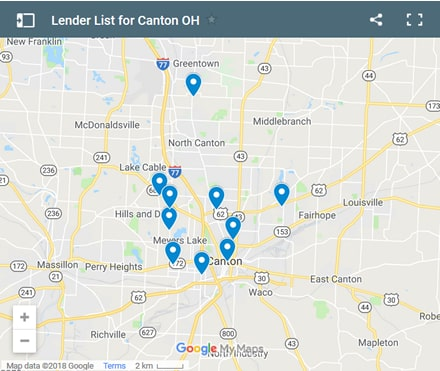 Canton Bad Credit Lenders Map - Initial Static Image