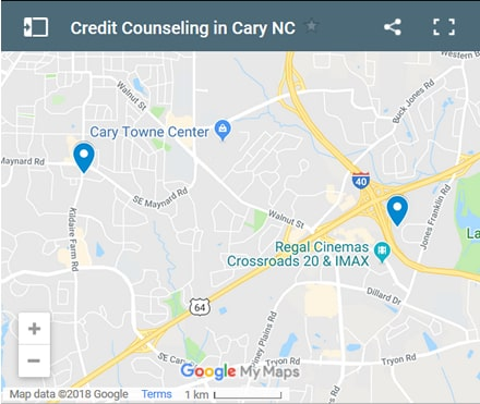 Cary Credit Counsellors Map - Initial Static Image