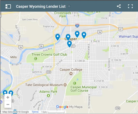Casper Bad Credit Lenders Map - Initial Static Image
