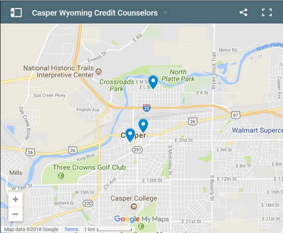Casper Credit Counsellors Map - Initial Static Image