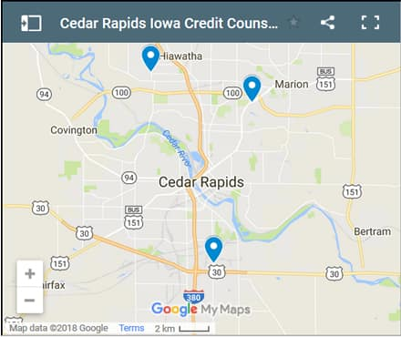 Cedar Rapids Credit Counsellors Map - Initial Static Image