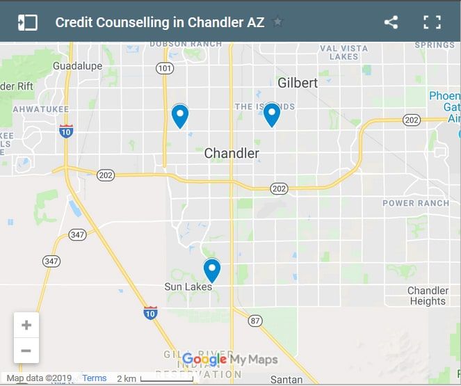 Chandler Credit Counselors Map - Initial Static Image