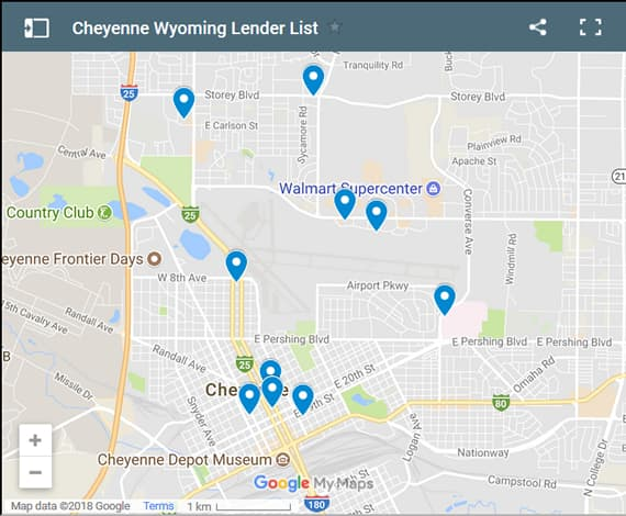 Cheyenne Bad Credit Lenders Map - Initial Static Image