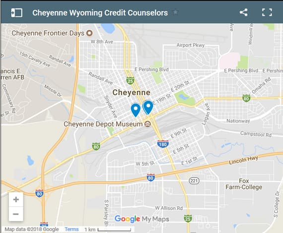 Cheyenne Credit Counsellors Map - Initial Static Image