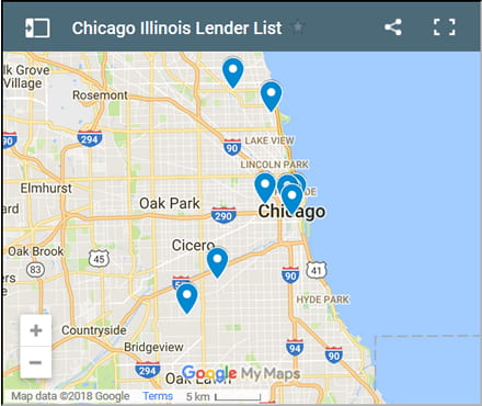 Chicago Bad Credit Lenders Map - Initial Static Image