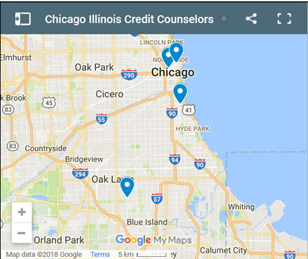 Chicago Credit Counsellors Map - Initial Static Image
