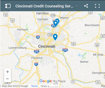 Cincinnati Credit Counsellors Map - Initial Static Image