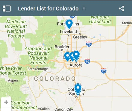 Colorado Bad Credit Lenders Map - Initial Static Image