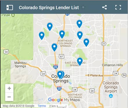 Colorado Springs CO Bad Credit Lenders Map - Initial Static Image