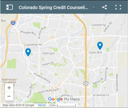 Colorado Springs CO Credit Counsellors Map - Initial Static Image